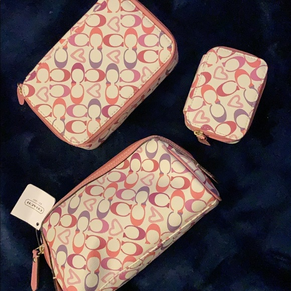 Coach Handbags - Coach makeup bag, pill & jewelry box